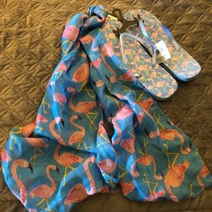 Shoes - FLAMINGO FLIP FLOPS AND SCARF